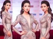 Thời trang - Lần đầu tiên HH Đỗ Mỹ Linh diện váy xẻ ngực táo bạo
