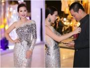 """Làng sao - Hoa hậu Thu Hoài ân cần chỉnh áo cho """"MC quốc dân"""" Phan Anh"""