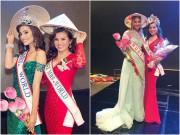 Hoa hậu Kim Hồng tặng nón lá và hoa sen cho Tân Mrs World 2016