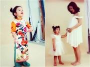 Làng sao - Con gái Jennifer Phạm nhí nhảnh xoa bụng bầu 7 tháng của mẹ