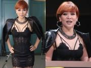 Làng sao - Thu Minh để tóc tém, diện váy khoe nội y trên sóng truyền hình