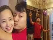 Làng sao - Thành Đạt tổ chức sinh nhật lãng mạn cho bà bầu Hải Băng