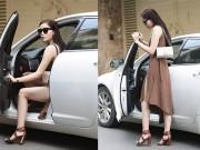Thời trang - Hoa hậu Kỳ Duyên tự lái xe riêng đi thử váy áo