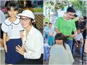 Sao Việt - Trương Hải Vân giản dị, Đoan Trường cắt tóc cho các em nhỏ khi đi từ thiện