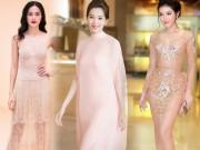 Những bộ đầm màu nude gây hoa mắt, hại não của sao Việt