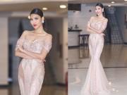 Thời trang - Lan Khuê diện đầm trễ vai mê hoặc khán giả Người đẹp xứ Dừa 2016