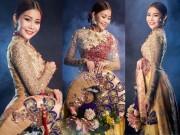Thời trang - Cận cảnh áo dài chim công lộng lẫy của hoa hậu Hải Dương
