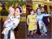 Làng sao - Lan Phương đẹp ngọt ngào, ngẫu hứng dạo phố Sài thành với các em nhỏ