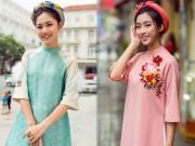 Thời trang - Hoa hậu Mỹ Linh, Thanh Tú chọn áo dài lạ mắt đón xuân