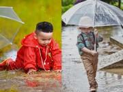 Con trai Hoa hậu Diễm Hương bị ngã khi chụp ảnh dưới mưa