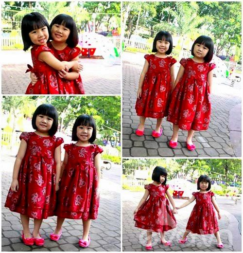 1357205002 sinhdoi1 Cặp đôi bé gái diện đầm đôi đẹp như thiên thần