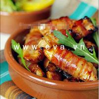 Thịt heo cuộn thịt gà nướng mật ong
