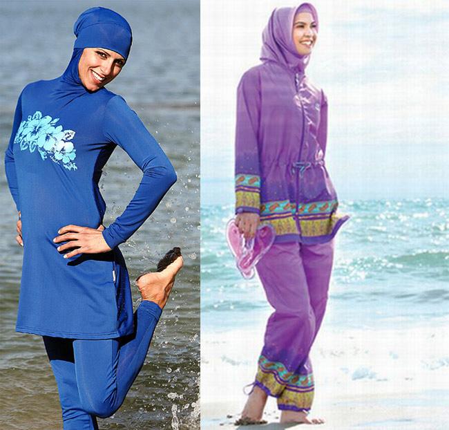 1. Burkini  Burkini là một loại áo tắm được thiết kế bởi Aheda Zanetti - một nhà thiết kế người Ly Băng. Khác với phong cách mát mẻ của áo tắm, burkini lại có kiểu dáng kín mít từ đầu đến chân và chỉ hở mỗi khuôn mặt. Nó được Aheda Zanetti thiết kế dành cho những người phụ nữ Hồi giáo với truyền thống ăn mặc 'kín cổng cao tường'.