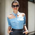 Thời trang - Eva khéo tay: Chế áo denim khoét vai cực sexy