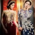 Thời trang - Tăng Thanh Hà đẹp dịu dàng với áo dài nhung