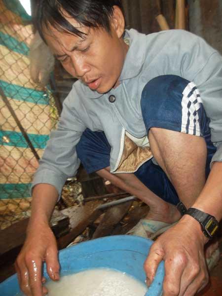 cha con nguoi rung goi banh chung don tet - 1