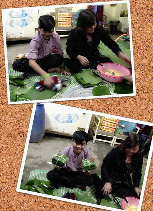 thuy top goi banh chung don tet - 12