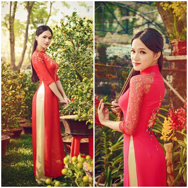 Hương Giang Idol nữ tính trong mẫu áo dài đỏ thắm.