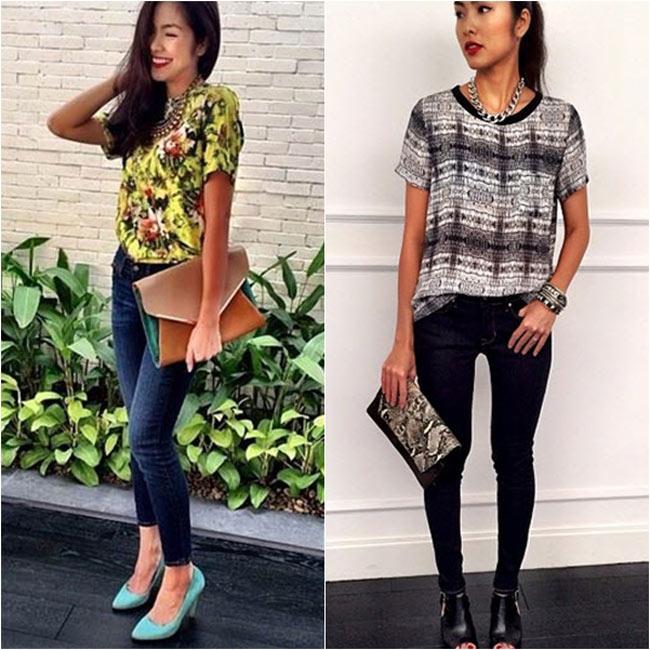 Tăng Thanh Hà chọn những bộ cánh giản dị với quần jeans, áo phông để mặc trong những ngày đầu năm mới.