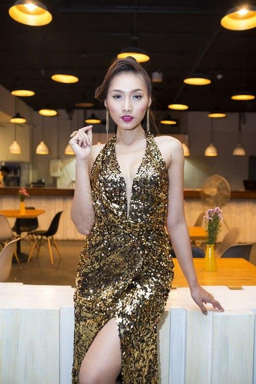 Siêu mẫu Khánh Ngọc sexy với váy xẻ sâu-11