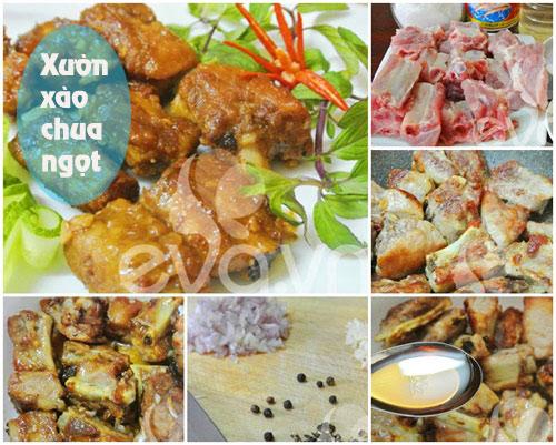 thuc don: suon xao chua ngot, canh hau - 1