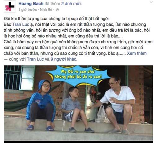"""hoang bach len facebook """"che"""" tran luc khong biet day con gioi tinh - 1"""