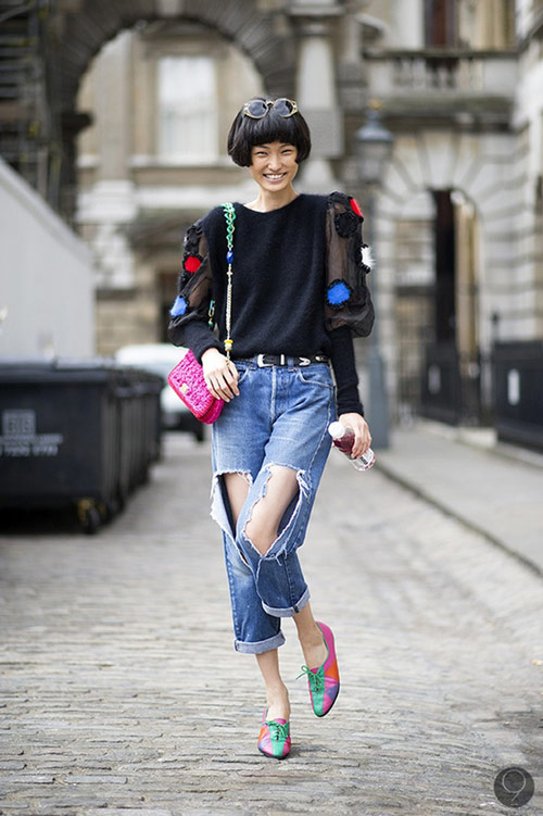 'cham mat' nhung co nang phat cuong vi jeans rach - 3