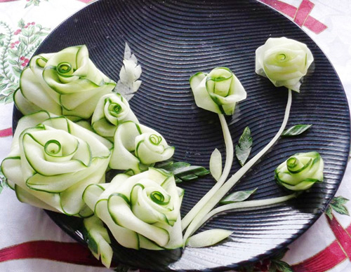 tia hoa tu dua chuot trang tri dia an - 6