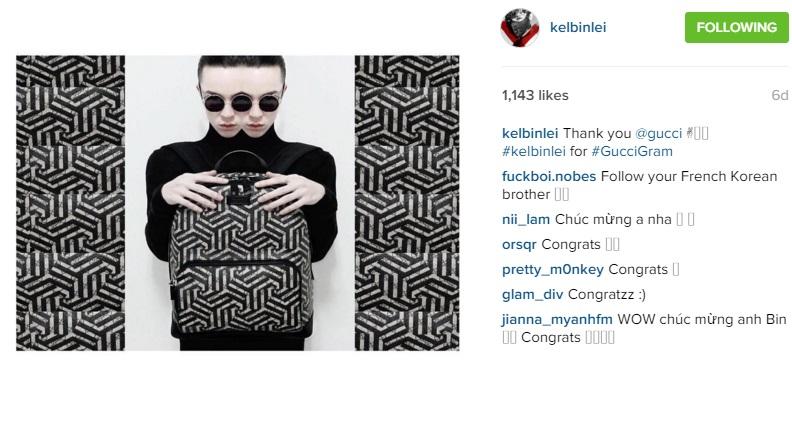 kelbin lei xuat hien tren instagram cua gucci - 2