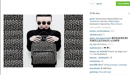 kelbin lei xuat hien tren instagram cua gucci - 1