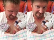 Bà bầu - 'Tan chảy' với ảnh 2 bé sinh non nắm tay nhau trên ngực bố