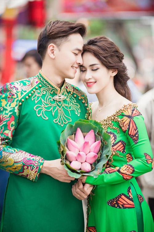 Tú Vi - Văn Anh diện áo dài ngọt ngào sánh đôi-7