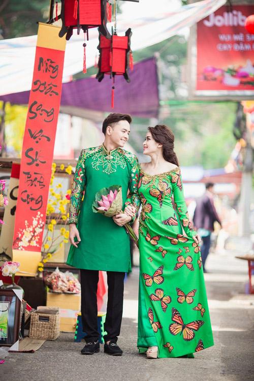Tú Vi - Văn Anh diện áo dài ngọt ngào sánh đôi-8