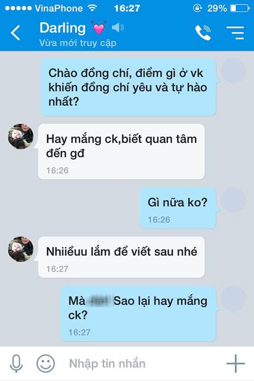 'ran ran' trao luu nhan tin hoi 'dieu gi khien chong yeu vo' - 2