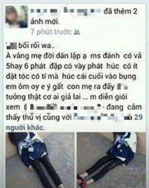 nu sinh danh ban den ngat xiu roi khoe tren facebook - 1