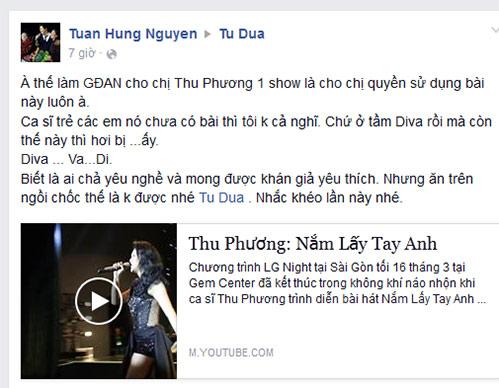 """tuan hung """"canh cao"""", doa tung loi xin loi cua thu phuong - 1"""