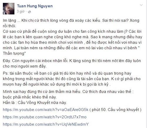 """tuan hung """"canh cao"""", doa tung loi xin loi cua thu phuong - 3"""