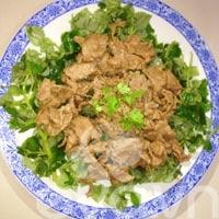 Mát ruột với rau càng cua trộn thịt bò