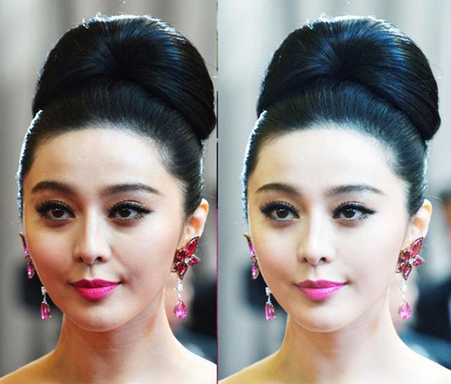 Kiểu tóc bới phồng giúp Phạm Băng Băng khoe trọn gương mặt rạng ngời, sắc nét. Cô dùng thêm phụ kiện xuyệt tông với son môi cánh sen ngọt ngào.