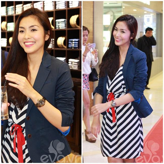 Trong một sự kiện diễn ra vào tối qua 11/4, Tăng Thanh Hà kết hợp chiếc váy kẻ sọc với blazer xuyệt tông rất trẻ trung.