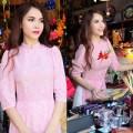 """Làng sao - Yến Trang đẹp nền nã với áo dài """"kín bưng"""""""