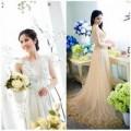 Thời trang - Vợ Phan Thanh Bình dịu dàng áo dài cưới