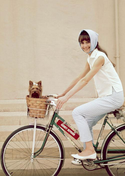Hà Tăng ngồi xe đạp, mặc đẹp như Aundrey Hepburn-4