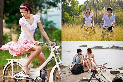 Hà Tăng ngồi xe đạp, mặc đẹp như Aundrey Hepburn-7