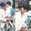 Làng sao - Lộ ảnh Jang Dong Gun đưa con trai đi học