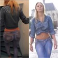 """Thời trang - Người mẫu mặc quần jeans """"ảo"""" diễu phố"""