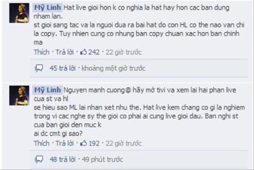 "my linh, son tung noi ve vu on ao ""hat live"" - 3"