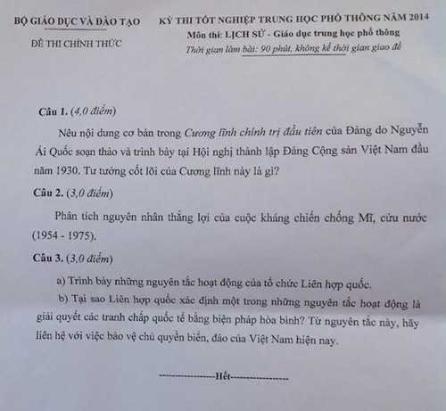 gap thi sinh dat diem 10 thi tot nghiep mon su - 2