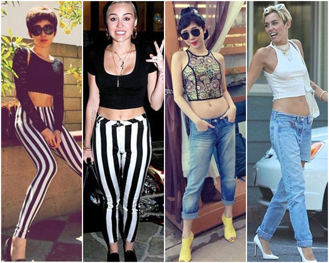 Tóc Tiên từng bị 'mang tiếng' là bắt chước gần như hoàn toàn những bộ trang phục mà nữ ca sĩ 9X Miley Cyrus từng mặc, từ kiểu áo lửng đến mái tóc tém siêu cá tính.