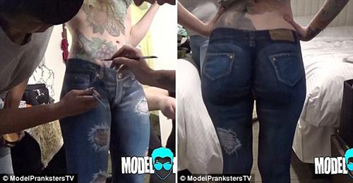 co nang 'son' quan jeans ra duong khong bi phat hien - 1